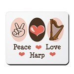 Peace Love Harp Mousepad