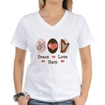 Peace Love Harp Women's V-Neck T-Shirt