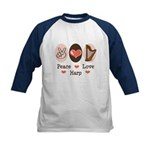 Peace Love Harp Kids Baseball Jersey