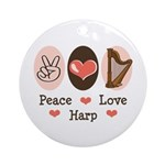 Peace Love Harp Ornament (Round)