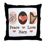 Peace Love Harp Throw Pillow