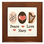 Peace Love Harp Framed Tile