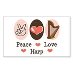 Peace Love Harp Rectangle Sticker