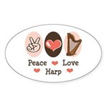 Peace Love Harp Oval Sticker
