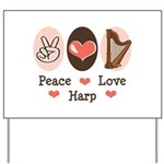Peace Love Harp Yard Sign