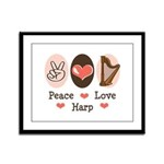 Peace Love Harp Framed Panel Print