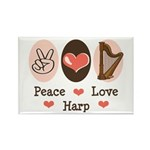 Peace Love Harp Rectangle Magnet (10 pack)