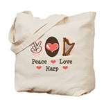 Peace Love Harp Tote Bag