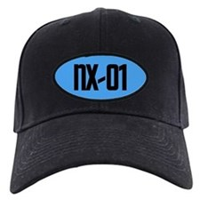 NX-01 Baseball Cap - Black txt/Sci-Med blue backgrnd