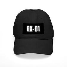 NX-01 Baseball Hat - white text on black