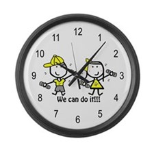 Exercise Yellow - Boy & Girl Large Wall Clock