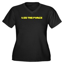 Use the Force Women's Plus Size V-Neck Dark T-Shir