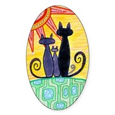 Sunrise Cats Oval Decal