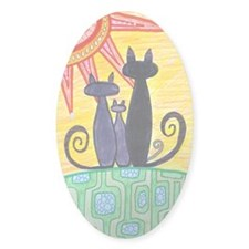 Sunrise Cats Oval Sticker (10 pk)