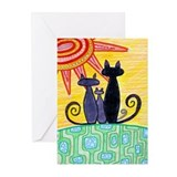 Sunrise Cats Greeting Cards (Pk of 10)