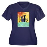 Sunrise Cats Women's Plus Size V-Neck Dark T-Shirt