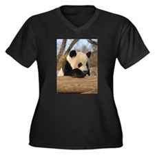 Giant Panda Women's Plus Size V-Neck Dark T-Shirt