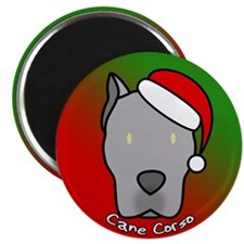 Cartoon Gray Cane Corso Christmas Magnet