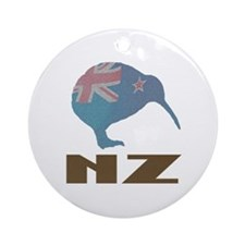 New Zealand Kiwi Flag Ornament (Round)