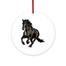 Black Stallion Horse Ornament (Round)