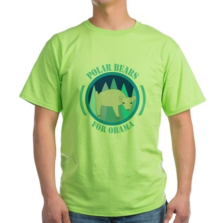 Polar Bears for Obama Green T-Shirt
