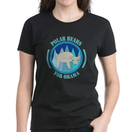 Polar Bears for Obama Women's Dark T-Shirt