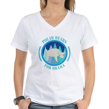 Polar Bears for Obama Women's V-Neck T-Shirt