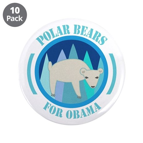 "Polar Bears for Obama 3.5"" Button (10 pack)"