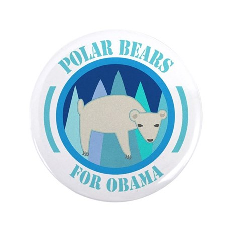 "Polar Bears for Obama 3.5"" Button (100 pack)"