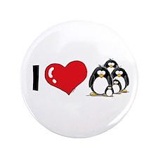 "I Love Penguins 3.5"" Button"