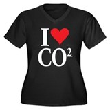 I Love co2 Women's Plus Size V-Neck Dark Tee