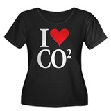 I Love co2 Women's Plus Size Scoop Neck Dark Tee