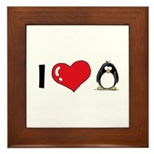 I Love Penguins Framed Tile