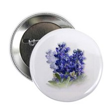 Bluebonnet pin-on metal button with white back