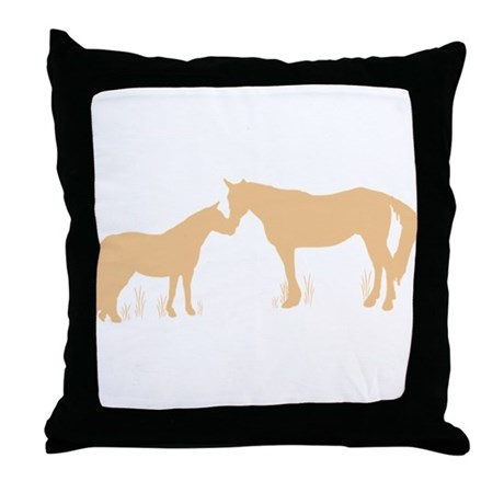 Horse Kisses Silhouette Throw Pillow