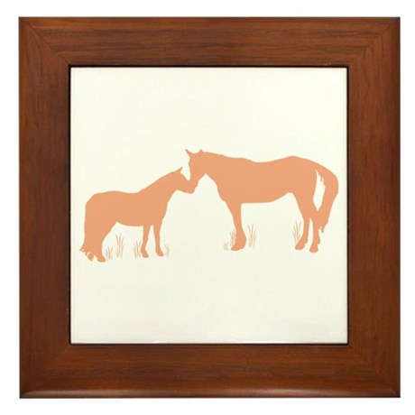 Horse Kisses Silhouette Framed Tile