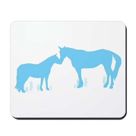 Horse Kisses Silhouette Mousepad