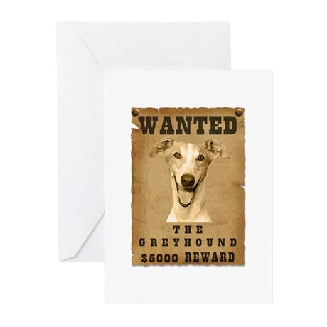 """""""Wanted"""" Greyhound Greeting Cards (Pk of 10)"""