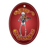 Violinist Skeleton Christmas Ornament