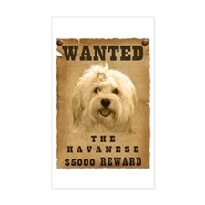 """Wanted"" Havanese Rectangle Decal"