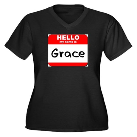 Hello my name is Grace Women's Plus Size V-Neck Da