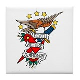 Death Before Dishonor Military Tattoo Tile Coaster