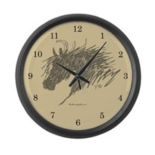 Horse Head Art Large Wall Clock