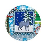 Scrapbook Russian Blue Christmas Ornament (Round)