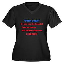 Palin Logic Women's Plus Size V-Neck Dark T-Shirt