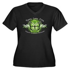 Lymphoma Tribal Butterfly Women's Plus Size V-Neck