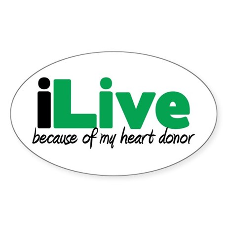 iLive Heart Oval Sticker (10 pk)