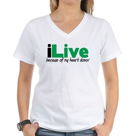 iLive Heart Women's V-Neck T-Shirt