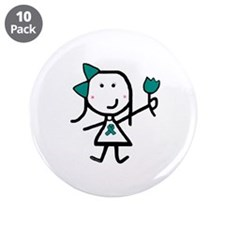 "Girl & Pink Ribbon 3.5"" Button (10 pack)"