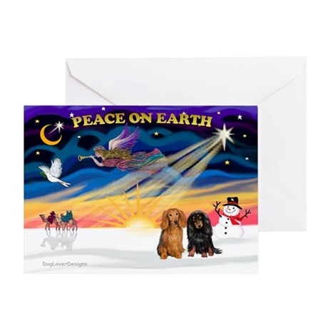 XmasSunrise/2 Dachshunds Greeting Card